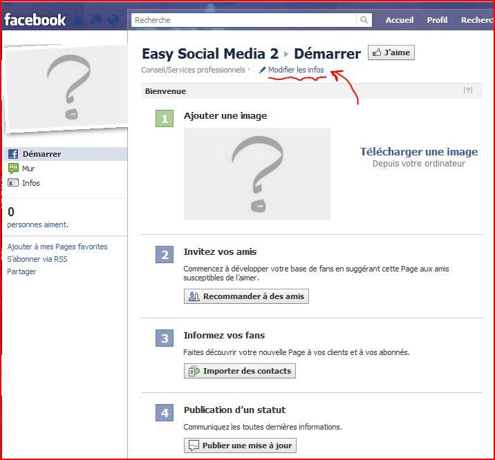 facebook, créer une page pro en images slides modifier infos