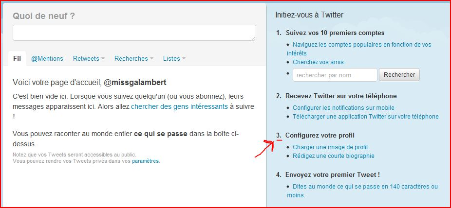 Comment creer un page twitter