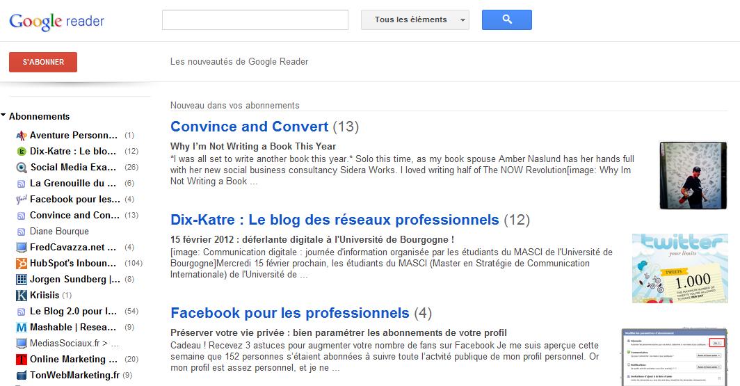 Veille internet Google Reader