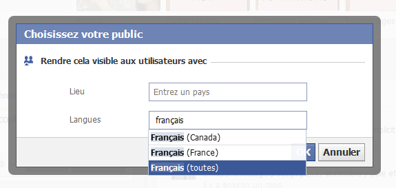 fonction langue facebook