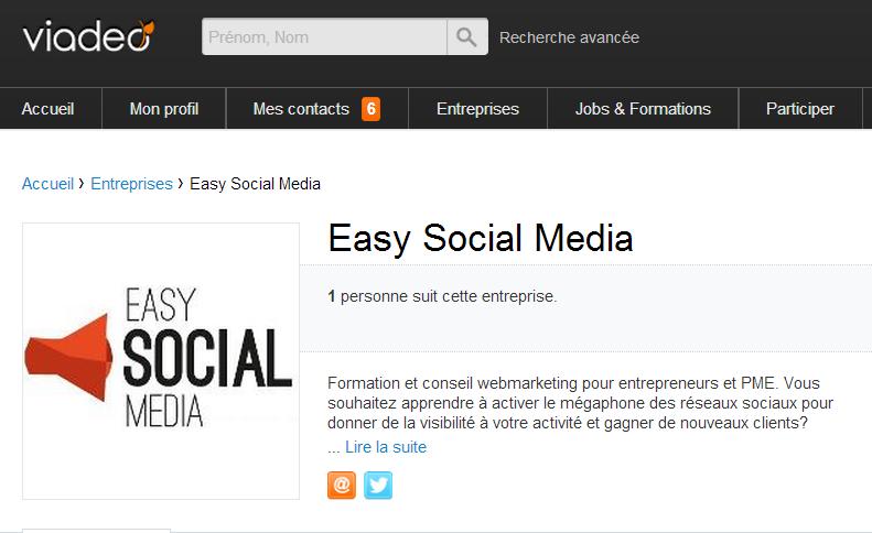 page entreprise viadeo easy Social media