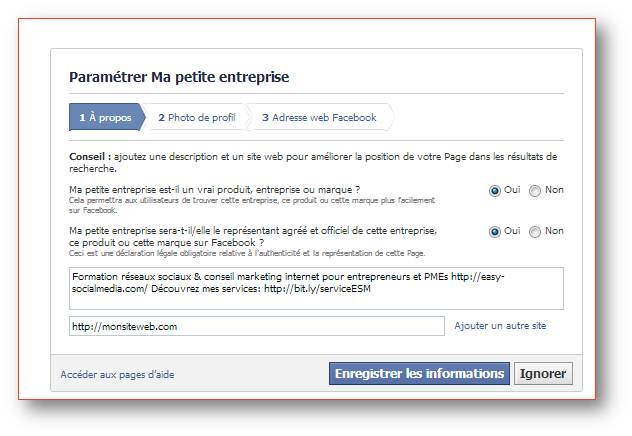 f page facebook entreprise