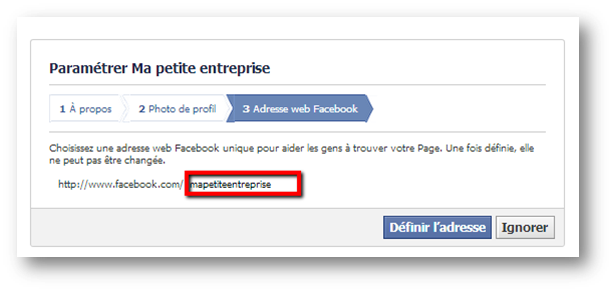 how to change facebook business page url