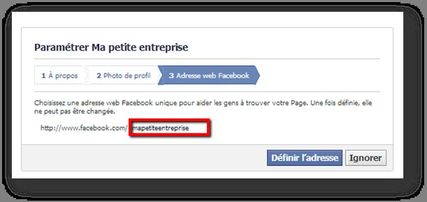 url page facebook entreprise