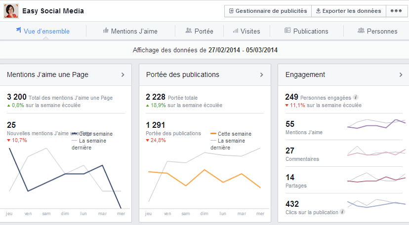 vue d'ensemble stats facebook